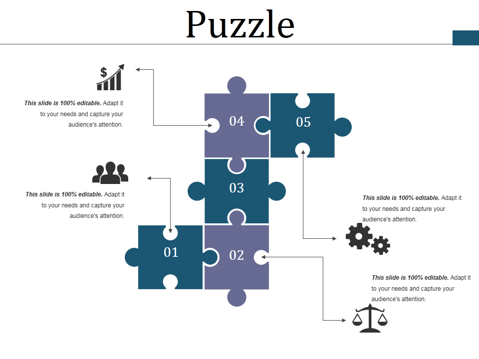 Different Puzzle Pieces with Icons & Text Options