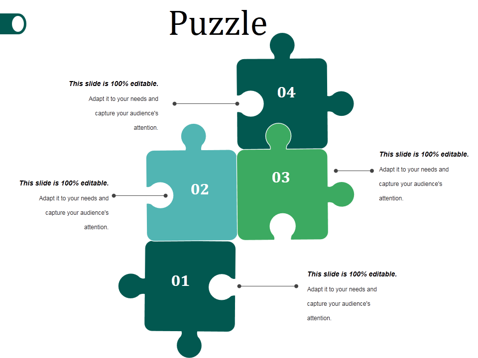 Five Puzzle Piece showing Icons with Text Options