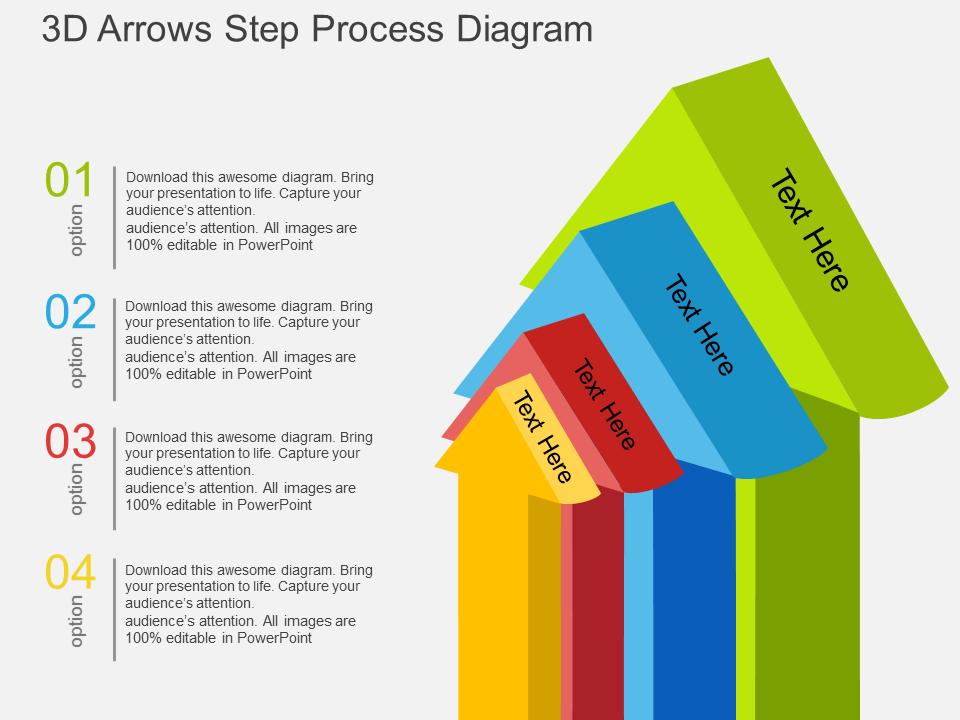 3D Arrows Step Process Diagram PowerPoint Template