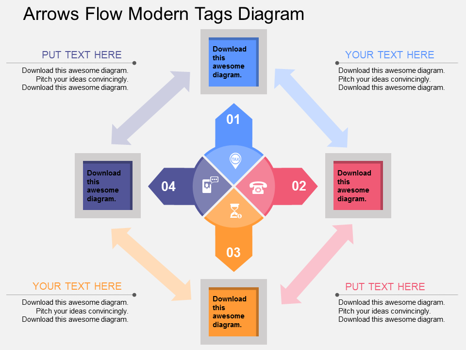 Arrows Flow Modern Tags Diagram PowerPoint Template