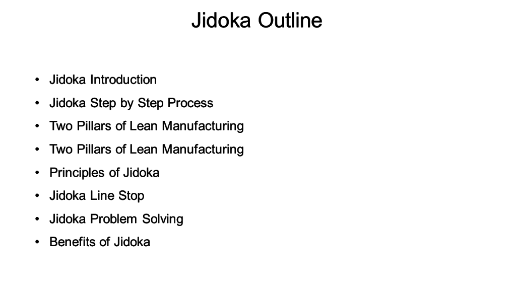 Before Jidoka Outline
