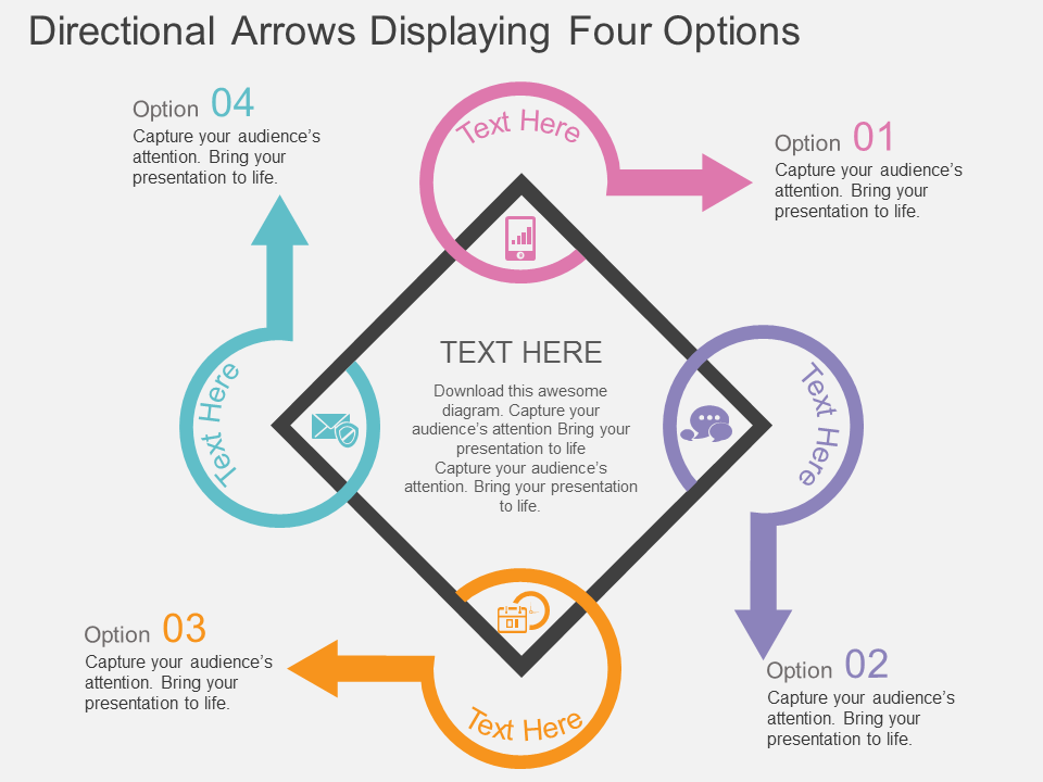 Directional Arrows Displaying Four Options PowerPoint Template