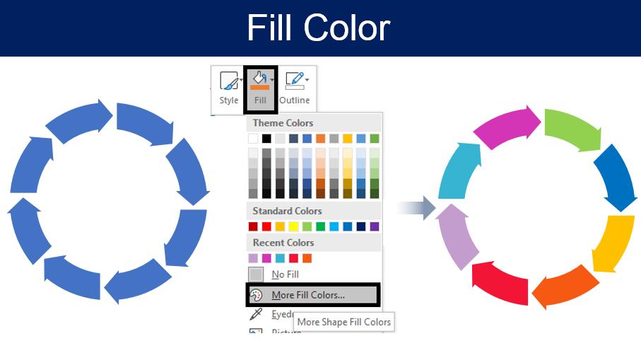 Fill Color in each Arrow