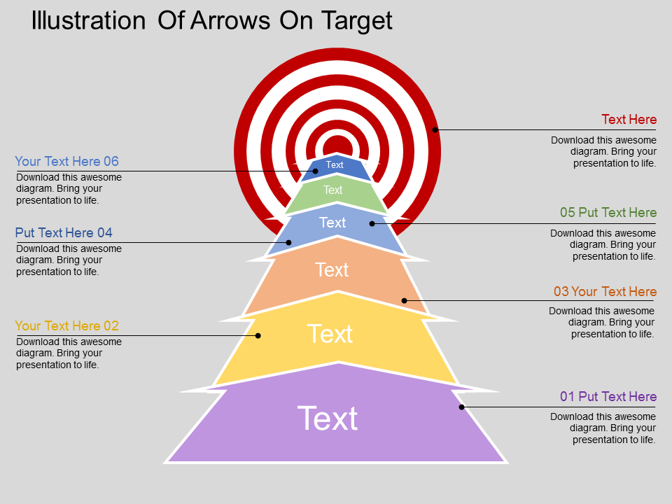 Illustration Of Arrows On Target PowerPoint Template