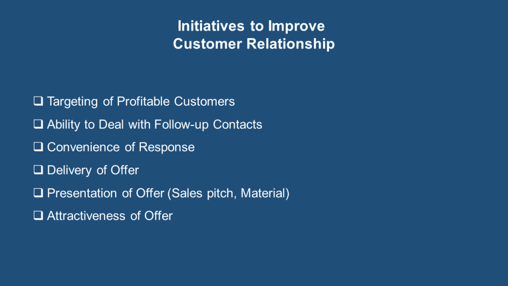 Initiatives to Improve Customer Relationship