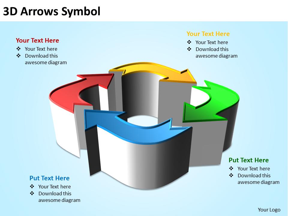 Strategic Management Business 3D Arrows Sales Diagram