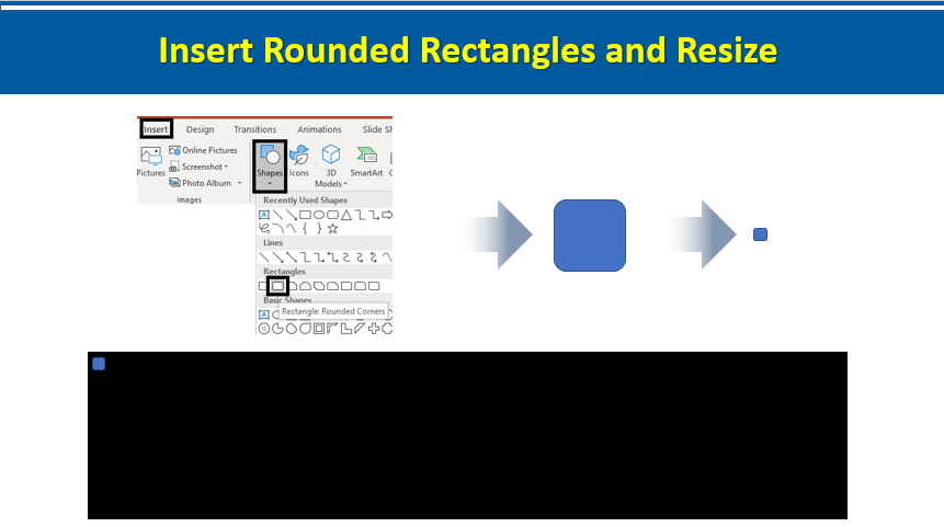 Insert Rounded Rectangles and Resize