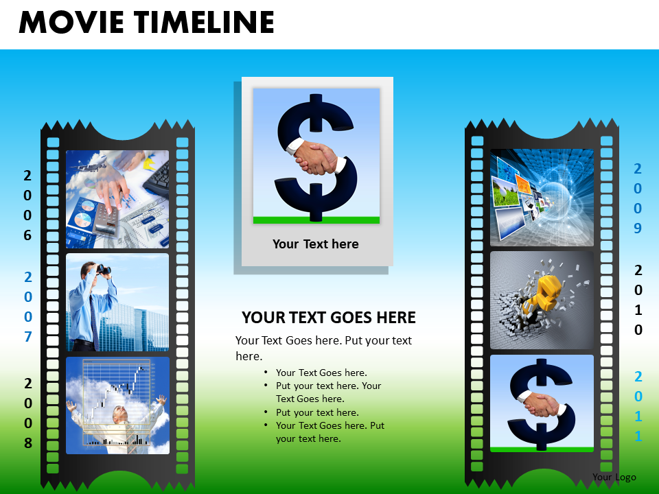 PowerPoint Presentation FilmStrip Company Success Movie Timeline PPT Layouts