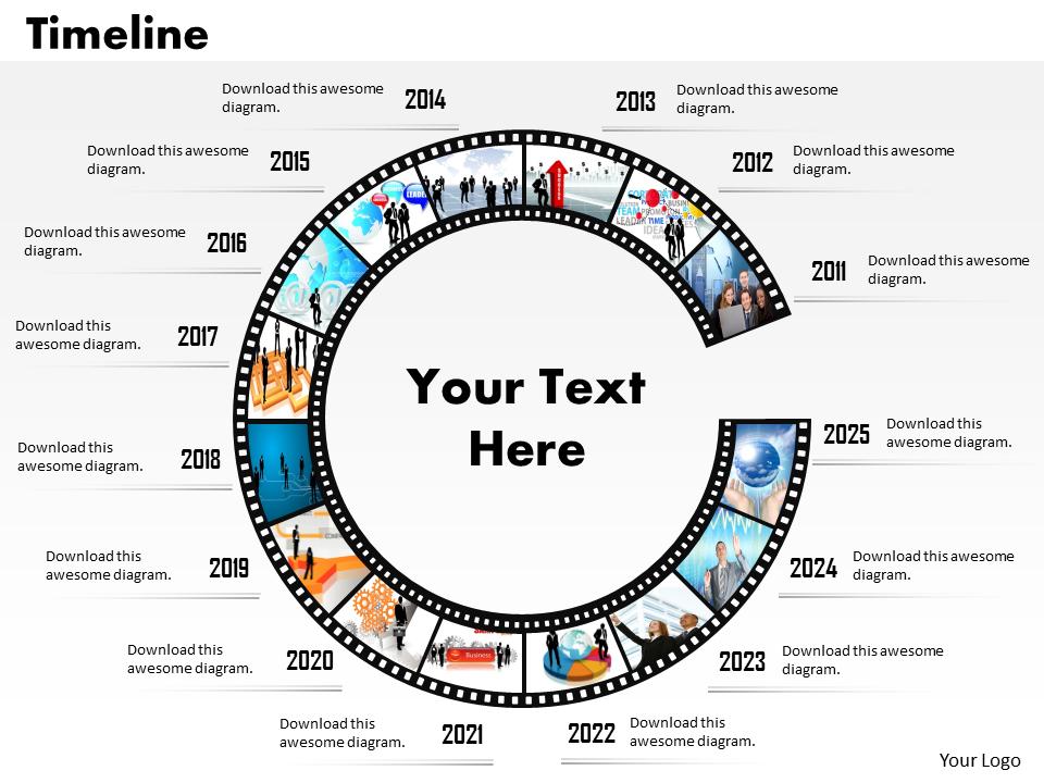 Strategic Management Multicolor Filmstrip Roadmap Diagram Business Diagram