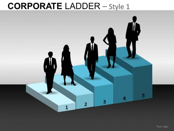 5 Steps Corporate Ladder PowerPoint Templates