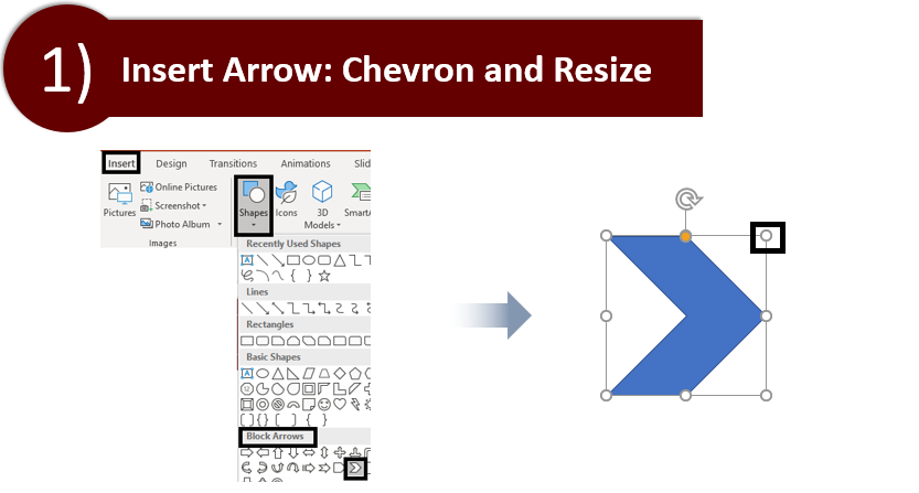 Insert Chevron Arrow and Resize it