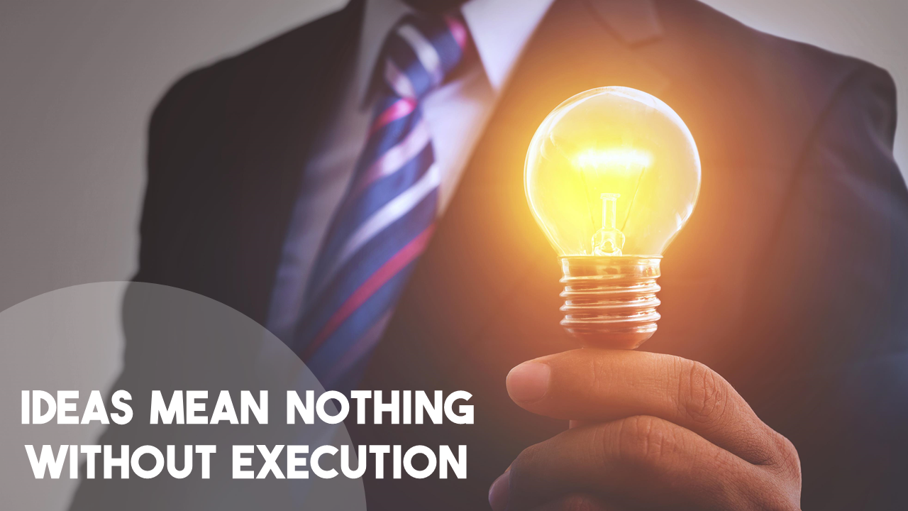 Ideas mean nothing without execution using custom font