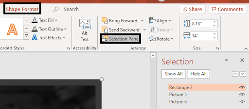 Locate the image from the selection pane