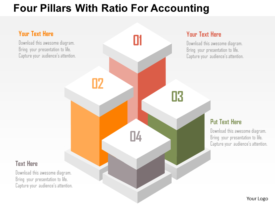 Business Diagram Four Pillars With Ratio For Accounting Presentation Template Powerpoint Templates