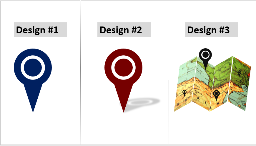 3 variants of the Location Pin icon