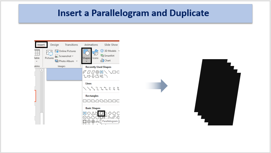 Insert a Parallelogram and Duplicate it