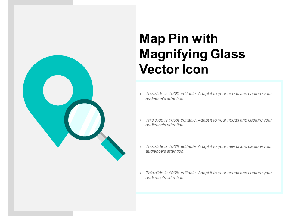Map Pin With Magnifying Glass Vector Icon PPT PowerPoint Presentation Model Influencers