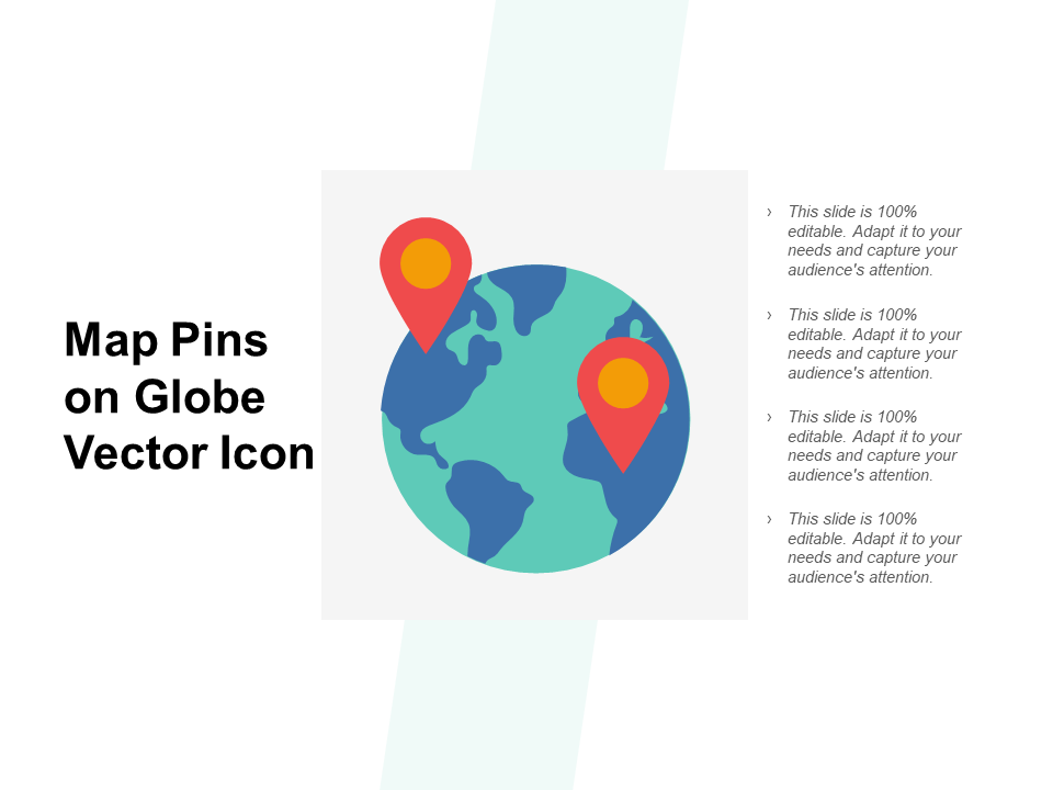 Map Pins On Globe Vector Icon PPT PowerPoint Presentation Icon Pictures