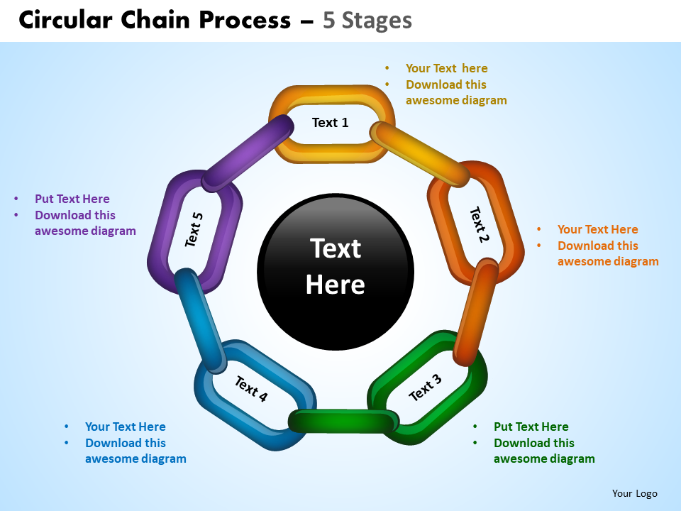 PowerPoint Process Chart Circular Chain PPT Template