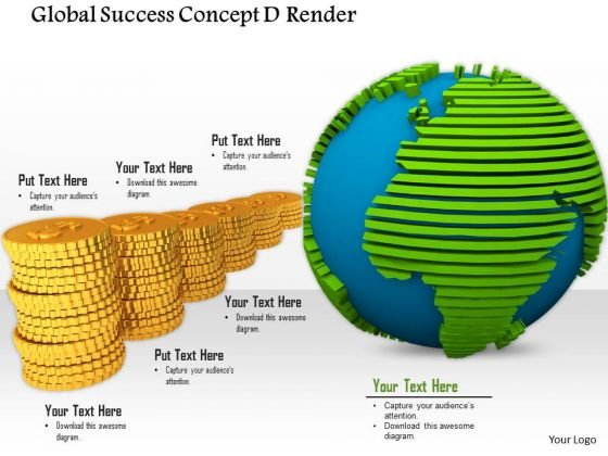 0814 Global Success Concept Globe And Golden Coins Graphic Image Graphics For PowerPoint