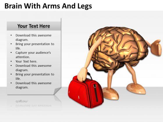0814 Stock Photo 3d Brain Holding Red Bag PowerPoint Slide