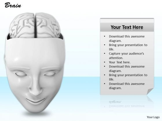 0814 Stock Photo 3d Human Face With Brain Illustration PowerPoint Slide