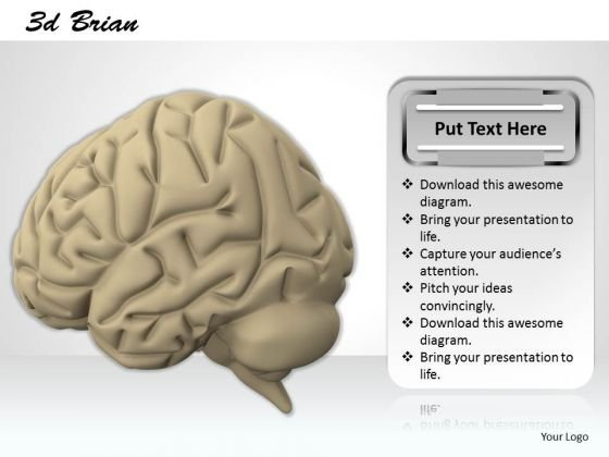 0814 Stock Photo 3d Render Of Human Brain PowerPoint Slide