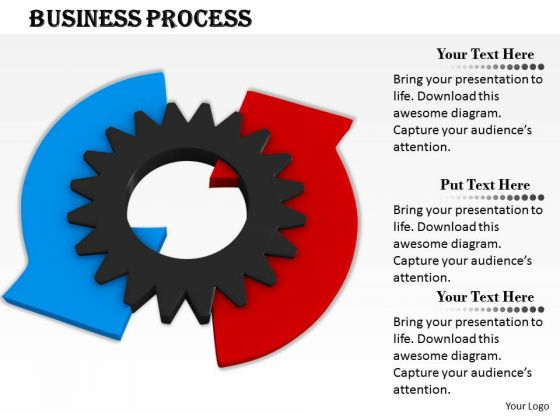 0814 Stock Photo Blue And Red Arrows Around Gear PowerPoint Slide
