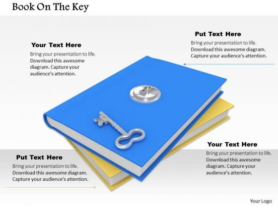 0814 Stock Photo Books With Lock And Key PowerPoint Slide