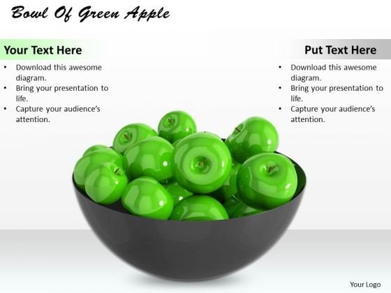 0814 Stock Photo Bowl Of Green Apples PowerPoint Slide
