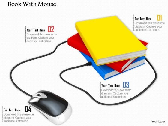 0814 Stock Photo Computer Mouse Connected To Books PowerPoint Slide