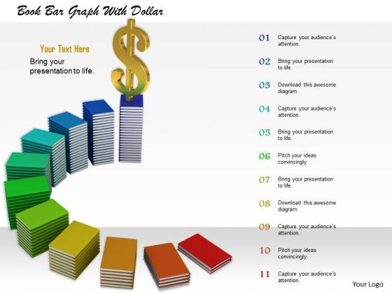 0814 Stock Photo Dollar On Top Of Books Graph PowerPoint Slide