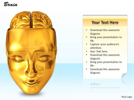 0814 Stock Photo Graphics Of Human Face With Brain PowerPoint Slide