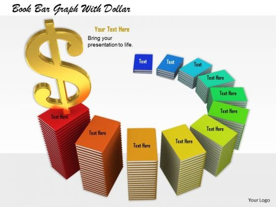 0814 Stock Photo Growth Graph Of Books With Dollar Symbol PowerPoint Slide