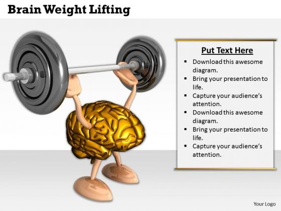 0814 Stock Photo Image Of 3d Brain Working Out PowerPoint Slide