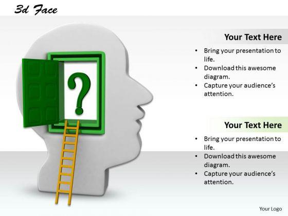 0814 Stock Photo Ladder Towards Door To Human Brain PowerPoint Slide