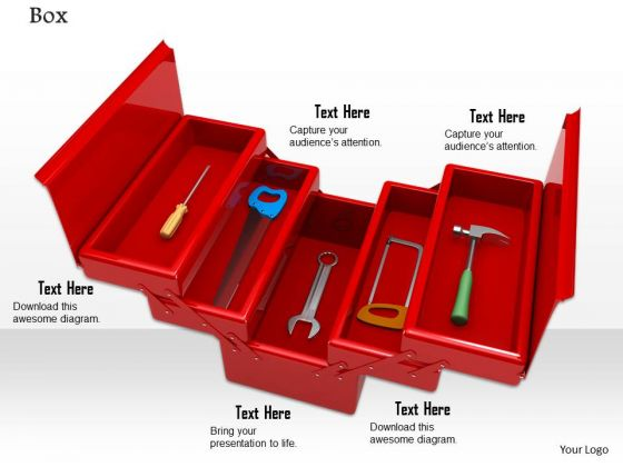 0814 Stock Photo Service Tools In Red Box PowerPoint Slide