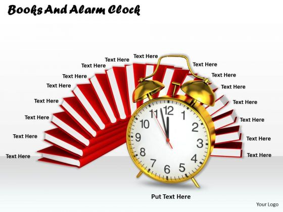 0814 Stock Photo Stack Of Red Books With Clock PowerPoint Slide