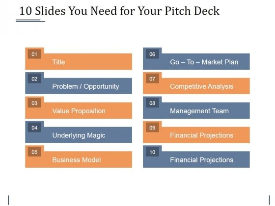 10 Slides You Need For Your Pitch Deck Ppt PowerPoint Presentation File Slideshow