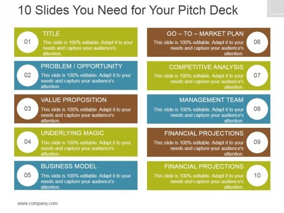 10 Slides You Need For Your Pitch Deck Ppt PowerPoint Presentation Samples
