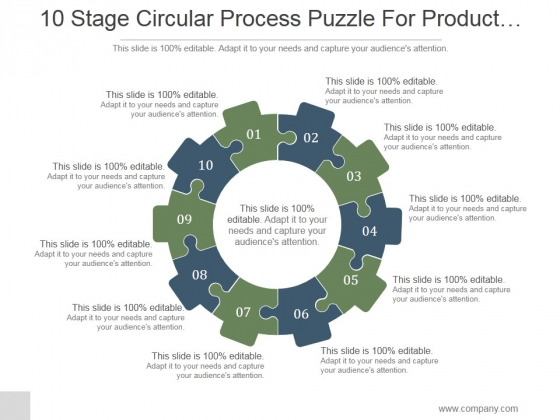10 Stage Circular Process Puzzle For Product Improvement Ppt PowerPoint Presentation Design Ideas