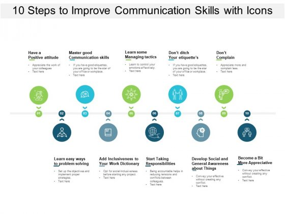 10 Steps To Improve Communication Skills With Icons Ppt PowerPoint Presentation Professional Gridlines