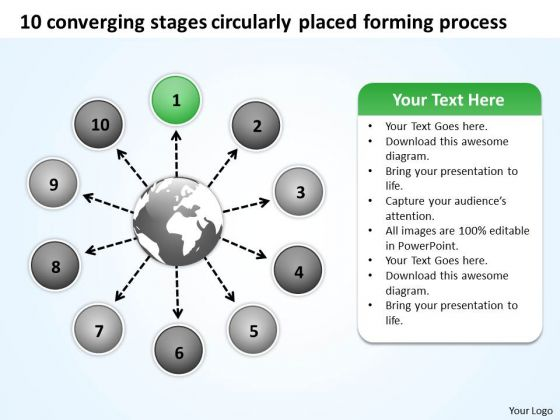 10 Converging Stages Circularly Placed Forming Process Charts And PowerPoint Slides