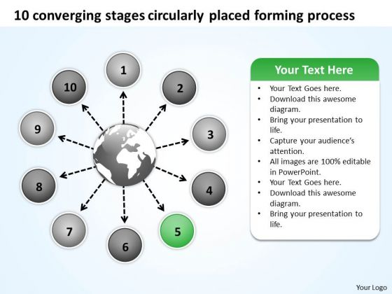 10 Converging Stages Circularly Placed Forming Process Cycle PowerPoint Templates