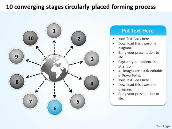 10 Converging Stages Circularly Placed Forming Process Radial Network PowerPoint Slides