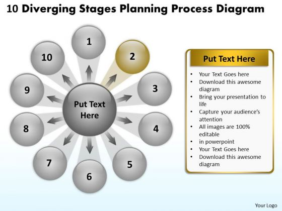 10 Diverging Stages Planning Process Diagram Circular Flow PowerPoint Slides