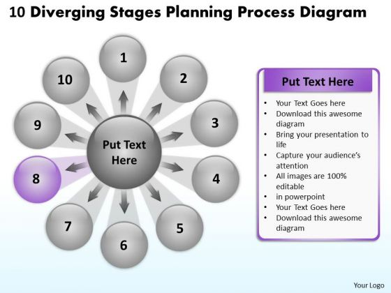 10 Diverging Stages Planning Process Diagram Circular Flow PowerPoint Templates