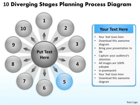 10 Diverging Stages Planning Process Diagram Circular Flow Spoke Network PowerPoint Slides