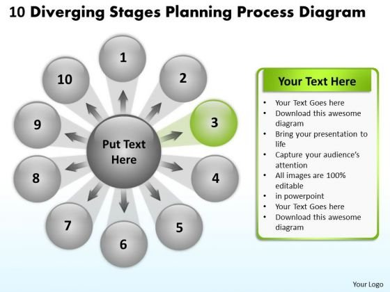 10 Diverging Stages Planning Process Diagram Cycle Network PowerPoint Templates
