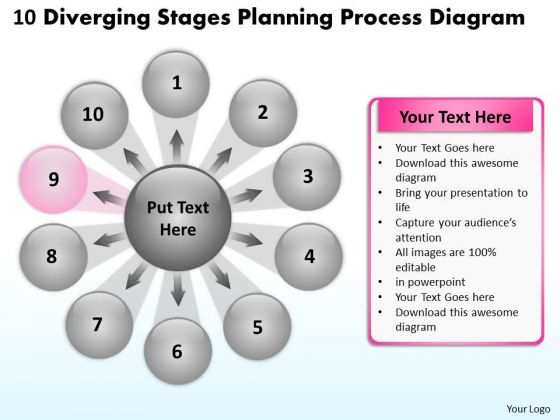 10 Diverging Stages Planning Process Diagram Ppt Circular Flow Network PowerPoint Slides